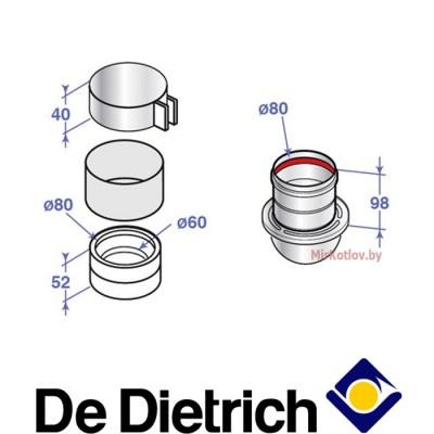 Переходник на 2 потока De Dietrich НХ 30 (80 мм)
