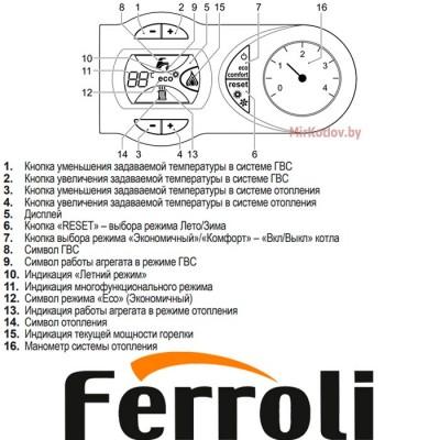 Купить Газовый котел Ferroli Fortuna F18 (двухконтурный котел, закрытая камера)  5 в Минске с доставкой по Беларуси
