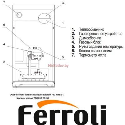 Купить Напольный газовый котел Ferroli Torino 20 (энергонезависимый, одноконтурный, атмосферный)  1 в Минске с доставкой по Беларуси