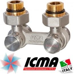 """Двухтрубный клапан для стального радиатора угловой 1/2"""" ICMA"""