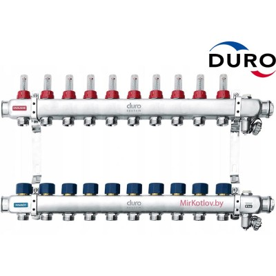 Коллектор (Гребенка) Duro D/S-RN-OP из нержавеющей стали, 10 выхода