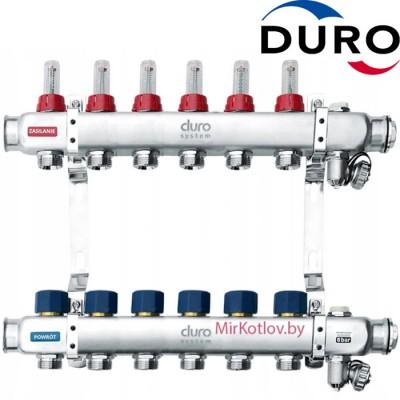 Коллектор (Гребенка) Duro D/S-RN-OP из нержавеющей стали, 6 выходов