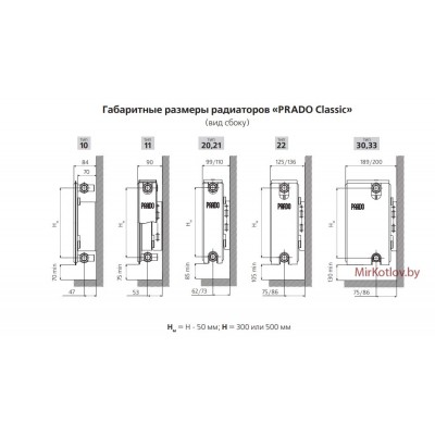 Купить Стальной панельный радиатор Prado Classic тип 11 300x700  5 в Минске с доставкой по Беларуси