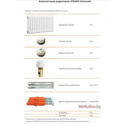 Купить Стальной панельный радиатор Prado Universal тип 22 300x1400  2 в Минске с доставкой по Беларуси
