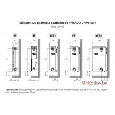 Стальной панельный радиатор Prado Universal тип 11 300x500 (нижнее подключение)