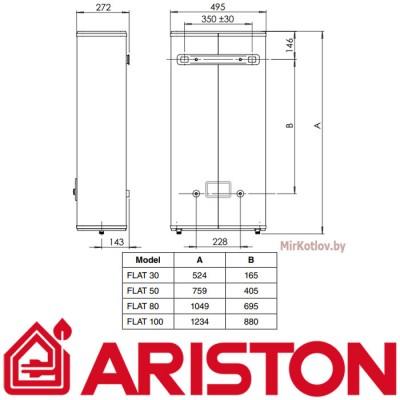 Купить Электрический накопительный водонагреватель  Ariston ARI FLAT PW 80 V  3 в Минске с доставкой по Беларуси