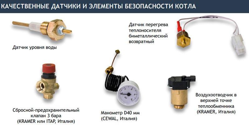Элементы безопасности электрокотла BAXI AMPERA
