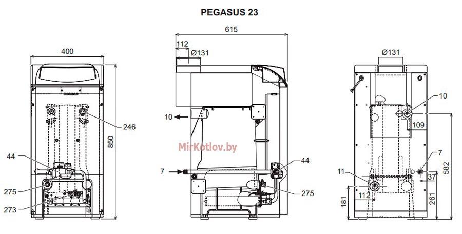 Газовый котел 23 кВт Ферроли Пегасус: размеры