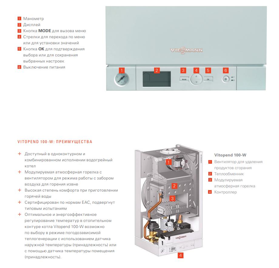 турбированный двухконтурный котел Viessmann Vitopend 100 - 30 кВт turbo